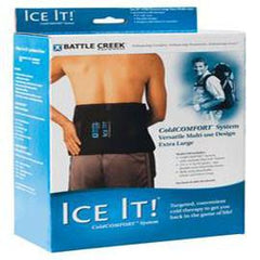"Battle Creek Equipment Ice It! ColdComfort Ice Pack Wrap with 3 Cold Packs 9"" x 20"", Fabric Cover, Removable Elastic Strap - Total Diabetes Supply"