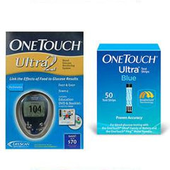 OneTouch Ultra 2 Glucose Meter Kit Combo (Meter Kit and Test Strips 50ct) - Total Diabetes Supply