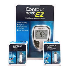 Bayer Contour Next EZ Glucose Meter Kit (Meter with 100 Test Strips)