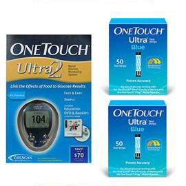 One Touch Ultra 2 Glucose Meter Kit Combo (Meter Kit and Test Strips 100ct) - Total Diabetes Supply