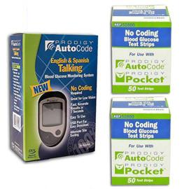 Prodigy Autocode Glucose Meter Kit Combo (Meter Kit and Test Strips 100ct) - Total Diabetes Supply