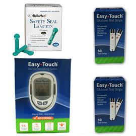 EasyTouch Glucose Monitor Kit Combo (Meter Kit, Test Strips 100ct and Reliamed Safety Seal Lancets 100ct) - Total Diabetes Supply