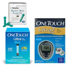 OneTouch Ultra 2 Glucose Meter Kit Combo (Meter Kit, Test Strips 100ct and Reliamed Safety Seal Lancets 100ct) - Total Diabetes Supply