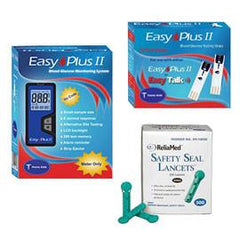 Easy Plus II Blood Glucose Monitor Kit Combo (Meter Kit, Test Strips 100ct and Reliamed Safety Seal Lancets 100ct) - Total Diabetes Supply