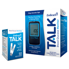Embrace TALK Meter with 50 Glucose Test Strips