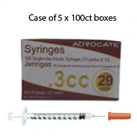 "Case of 5 Advocate Insulin Syringes - 29G 3/10cc 1/2"" - BX 100 - Total Diabetes Supply"