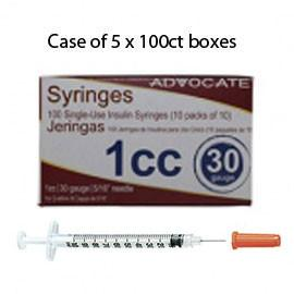 "Case of 5 Advocate Insulin Syringes - 30G 1cc 5/16""- BX 100 - Total Diabetes Supply"