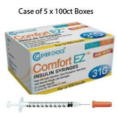 "Case of 5 Clever Choice Comfort EZ Insulin Syringes - 31G U-100 1/2 cc 5/16"" - BX 100 - Total Diabetes Supply"