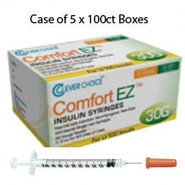 "Case of 5 Clever Choice Comfort EZ Insulin Syringes - 30G U-100 1 cc 5/16"" - BX 100 - Total Diabetes Supply"