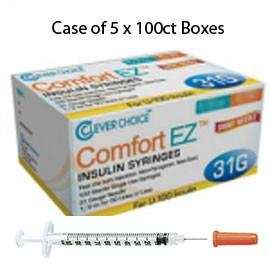 "Case of 5 Clever Choice Comfort EZ Insulin Syringes - 31G U-100 1 cc 5/16"" - BX 100 - Total Diabetes Supply"