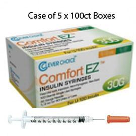 "Case of 5 Clever Choice Comfort EZ Insulin Syringes - 30G U-100 1/2 cc 5/16"" - BX 100 - Total Diabetes Supply"