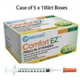 "Case of 5 Clever Choice Comfort EZ Insulin Syringes - 30G U-100 3/10 cc 5/16"" - BX 100 - Total Diabetes Supply"