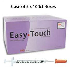 "Case of 5 EasyTouch Insulin Syringe - 28G 1CC 1/2"" - BX 100 - Total Diabetes Supply"