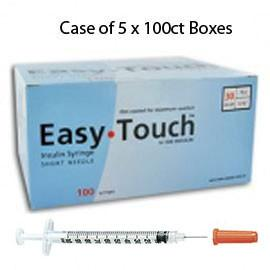 "Case of 5 EasyTouch Insulin Syringe - 30G 1CC 5/16"" - BX 100 - Total Diabetes Supply"