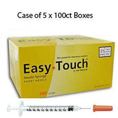 "Case of 5 EasyTouch Insulin Syringe - 31G 1CC 5/16"" - BX 100 - Total Diabetes Supply"