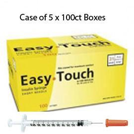 "Case of 5 EasyTouch Insulin Syringe - 31G .5cc 5/16"" - BX 100 - Total Diabetes Supply"