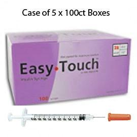 "Case of 5 EasyTouch Insulin Syringe - 28G .5CC 1/2"" - BX 100 - Total Diabetes Supply"