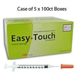 "Case of 5 EasyTouch Insulin Syringe - 29G 1CC 1/2"" - BX 100 - Total Diabetes Supply"