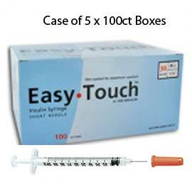 "Case of 5 EasyTouch Insulin Syringe - 30G .5CC 1/2"" - BX 100 - Total Diabetes Supply"
