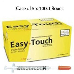 "Case of 5 EasyTouch Insulin Syringe - 31G .3CC 5/16"" - BX 100 - Total Diabetes Supply"