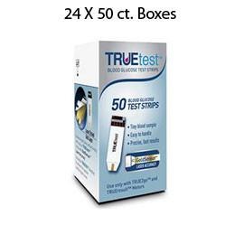 Case of 24 boxes of TRUEtest Glucose Strips 50/bx