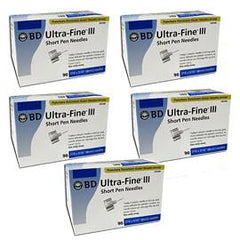 "BD Ultra-Fine III Short Pen Needles - 31G 5/16"" - BX 90 - Case of 5 - Total Diabetes Supply"