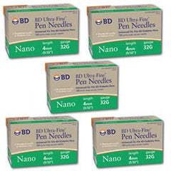 Bd Ultra-Fine Nano Pen Needle - 32 G 4 mm - BX 90 - Case of 5 - Total Diabetes Supply