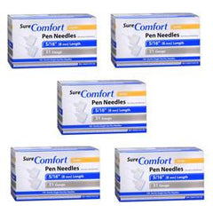 "SureComfort Mini Pen Needles - 31G 5/16"" - BX 100 - Case of 5 - Total Diabetes Supply"