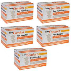 "SureComfort Short Pen Needles - 32G 1/4"" - BX 100 - Case of 5 - Total Diabetes Supply"