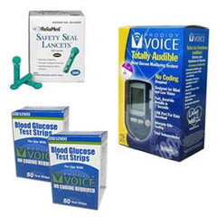 Prodigy Voice Glucose Meter Kit Combo (Meter Kit, Test Strips 100ct and Reliamed Safety Seal Lancets 100ct)