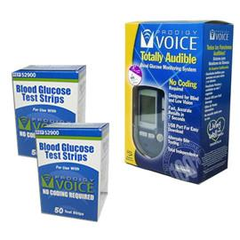 Prodigy Voice Meter Kit Combo (Meter Kit and Test Strips 100ct) - Total Diabetes Supply