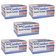 SureComfort U-100 Insulin Syringes 29g 1/2cc 1/2in 100/bx Case of 5 - Total Diabetes Supply