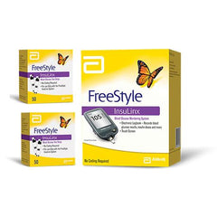 FreeStyle Insulinx Blood Glucose Monitoring Kit Combo (Freestyle Insulinx Meter Kit and 100 Strips)
