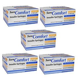SureComfort U-100 Insulin Syringes 30g 1/2cc 5/16in 100/bx Case of 5 - Total Diabetes Supply