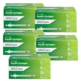 UltiCare Ulti-Fine II U-100 Insulin Syringes Short Needle 31g 1cc 5/16in 100/bx Case of 5 - Total Diabetes Supply