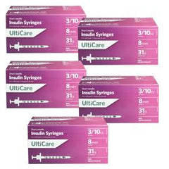 UltiCare Ulti-Fine II U-100 Insulin Syringes Short Needle 31g 3/10cc 5/16in 100/bx Case of 5 - Total Diabetes Supply
