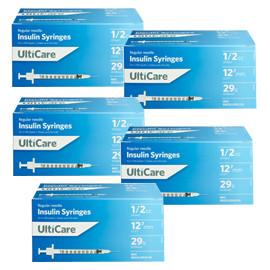 UltiCare Ulti-Fine U-100 Insulin Syringes 29g 1/2cc 1/2in 100/bx Case of 5 - Total Diabetes Supply