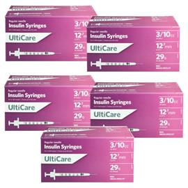 UltiCare Ulti-Fine U-100 Insulin Syringes 29g 3/10cc 1/2in 100/bx Case of 5 - Total Diabetes Supply
