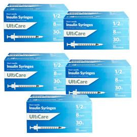 UltiCare Ulti-Thin II U-100 Insulin Syringes Short Needle 30g 1/2cc 5/16in 100/bx Case of 5 - Total Diabetes Supply