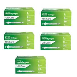 UltiCare Ulti-Thin II U-100 Insulin Syringes Short Needle 30g 1cc 5/16in 100/bx Case of 5 - Total Diabetes Supply