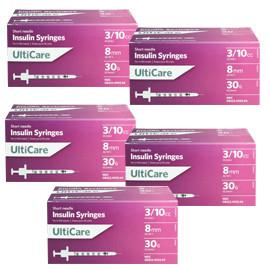 UltiCare Ulti-Thin II U-100 Insulin Syringes Short Needle 30g 3/10cc 5/16in 100/bx Case of 5 - Total Diabetes Supply