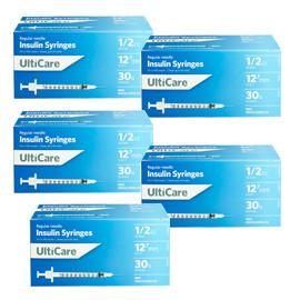 UltiCare Ulti-Fine U-100 Insulin Syringes 30g 1/2cc 1/2in 100/bx Case of 5 - Total Diabetes Supply