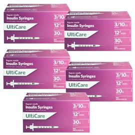 UltiCare Ulti-Fine U-100 Insulin Syringes 30g 3/10cc 1/2in 100/bx Case of 5 - Total Diabetes Supply