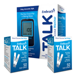Embrace TALK Meter with 100 Glucose Test Strips