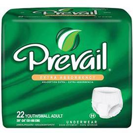 "Prevail Youth Protective Underwear, Extra Absorbency, Pull On and Off Design, Small (20"" to 34"") - One pkg of 22 each - Total Diabetes Supply"