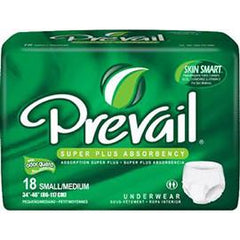 "Prevail Super Plus Underwear Small/Medium (34"" to 46"") - One pkg of 18 each - Total Diabetes Supply"