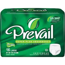"Prevail  Super Plus Underwear Large (45"" to 58"") - One pkg of 16 each - Total Diabetes Supply"