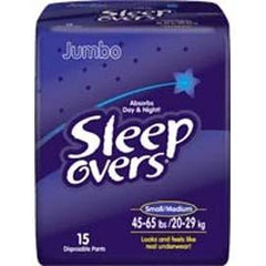 Sleep Overs Youth Pants, Small to Medium (45 to 65 lb) - One pkg of 15 each - Total Diabetes Supply