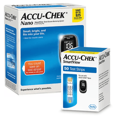 Accu-Chek Nano Meter and 50 SmartView Glucose Test Strips, Includes $25 REBATE