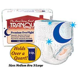 "Tranquility Premium OverNight Disposable Absorbent Underwear, 34 oz Fluid Capacity, Latex-Free, Medium (34""- 48"",120 - 175 lb) - One pkg of 18 each - Total Diabetes Supply"
